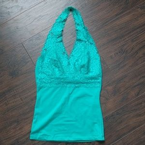 Beautiful teal lace detailed halter top
